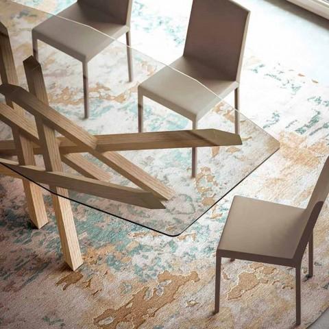 Tavolo Moderno In Rovere.Tavolo Living Di Design In Vetro Trasparente Fatto In Italia Acciano