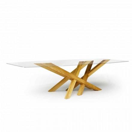 Tavolo moderno in vetro e rovere naturale prodotto in Italia Acciano