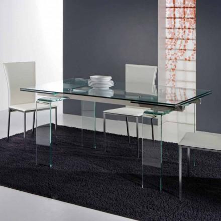 Tavolo moderno interamente in vetro temperato trasparente Atlanta