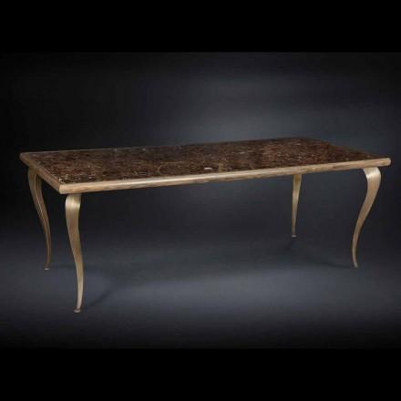 Tavolo neo-classico con struttura in massello e piano in marmo Adam