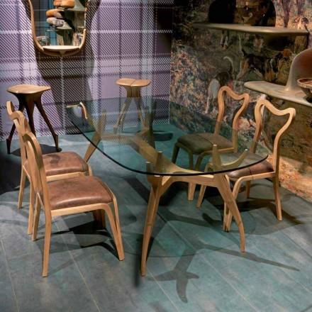Tavolo ovale da pranzo in legno design moderno, L197xP109 cm,Fraco