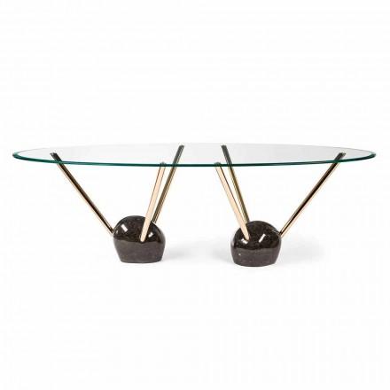 Tavolo ovale di design con piano in vetro 100% Made in Italy Zoe