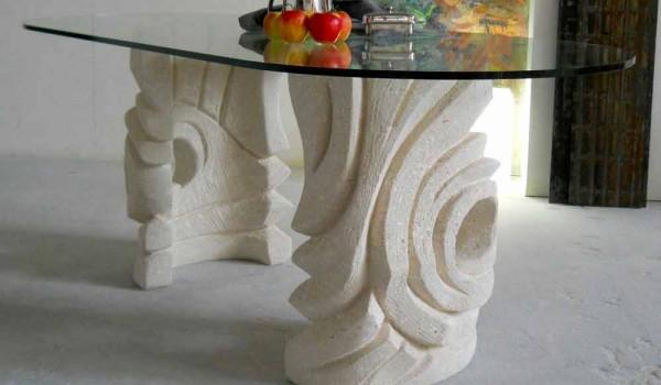 Tavolo Ovale Design : Tavolo ovale scolpito a mano in pietra di vicenza erinni