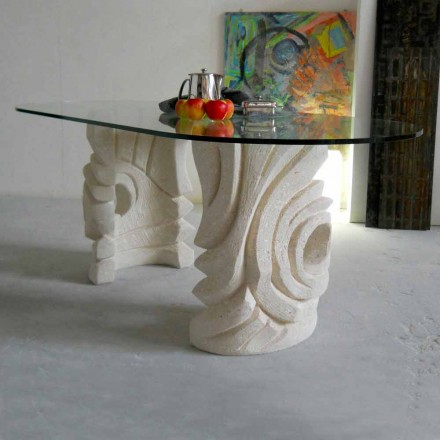 Tavolo ovale scolpito a mano in Pietra di Vicenza Erinni