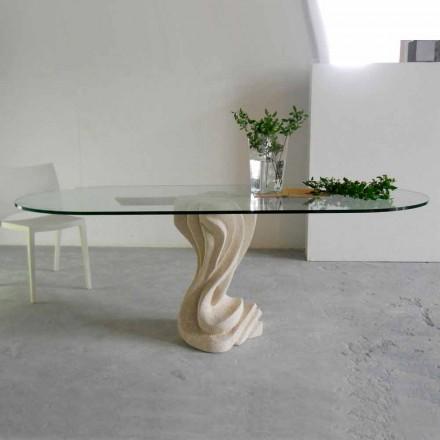 Tavolo ovale in Pietra di Vicenza e cristallo Agave, scolpito a mano
