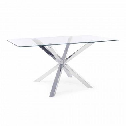 Tavolo per Sala da Pranzo con Piano in Vetro Temperato Homemotion - Denda