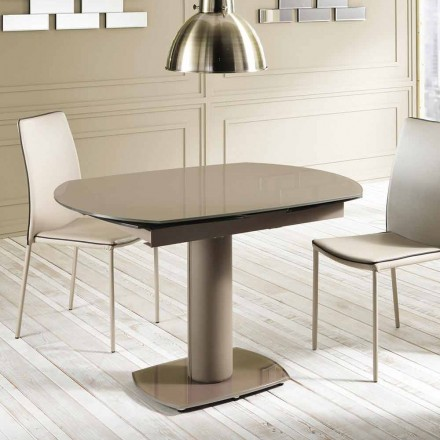 Tavolo pranzo allungabile in vetro e similpelle, L120/180xP90cm,Lelia