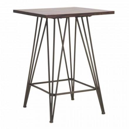 Tavolo Quadrato Alto Industrial di Design in Ferro e Legno - Helle