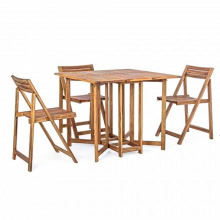 Tavolo Quadrato da Esterno in Legno di Acacia con 4 Sedie Pieghevoli - Salvia