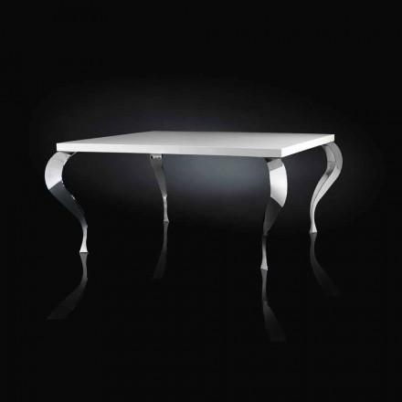 Tavolo quadrato fisso di design in MDF e acciaio cromato Luigi