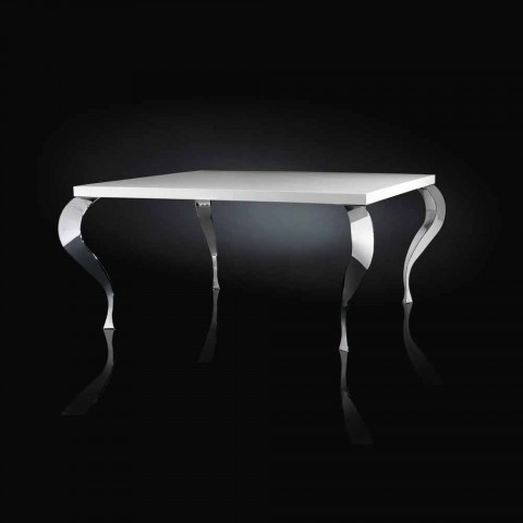 Tavoli Quadrati Di Design.Tavolo Quadrato Fisso Di Design In Mdf E Acciaio Cromato Luigi