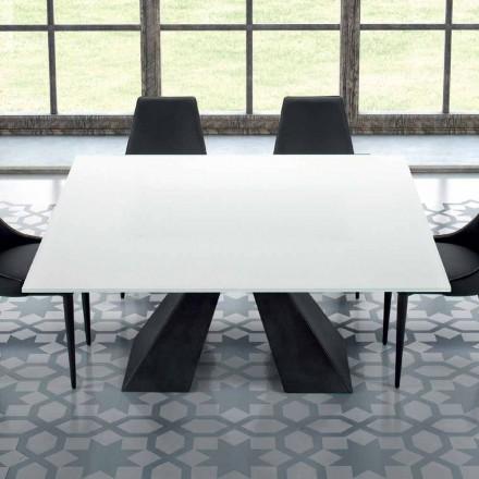 Tavolo Quadrato in Vetro Temperato Extrabianco e Acciaio Made in Italy – Dalmata
