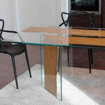 Tavolo rettangolare in legno di briccola di Venezia e vetro San Marco