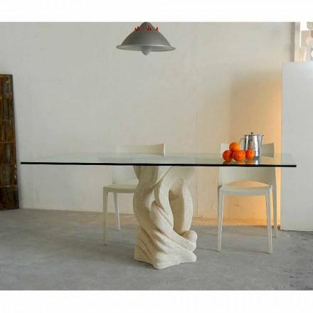 Tavolo rettangolare in Pietra di Vicenza Ascanio, scolpito a mao