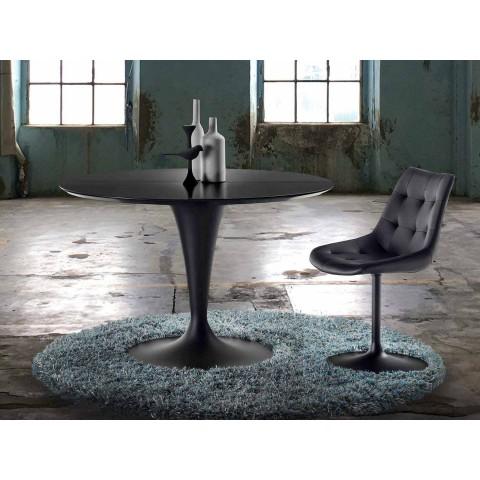 Tavolo nero opaco allungabile di design per 8 persone for Tavolo rotondo allungabile moderno