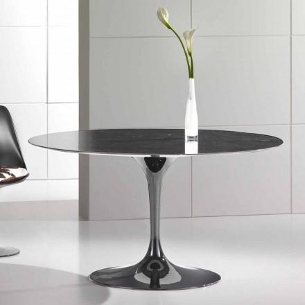 Tavolo Rotondo da Pranzo in Marmo Marquinia Alta Qualità Made in Italy – Nerone