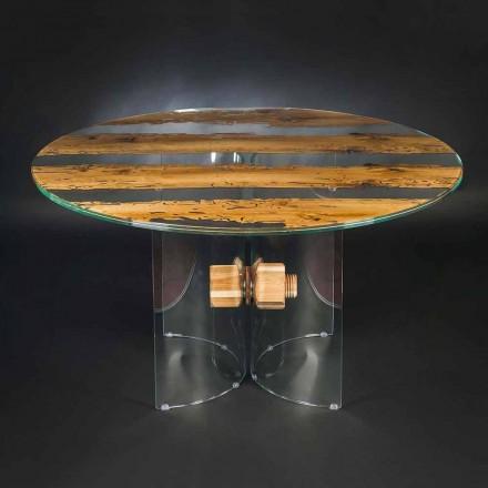 Tavolo rotondo di design in legno di briccola Veneziana e vetro