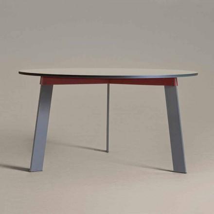 Tavolo Rotondo di Design Moderno in Acciaio e MDF Laccato Colorato - Aronte