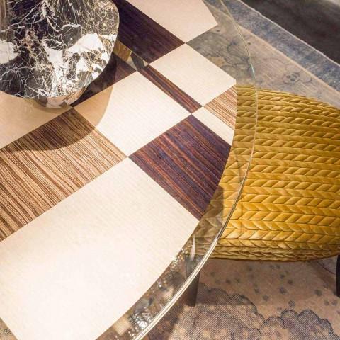 Tavolo rotondo modeno con piano in vetro e intarsi di legno Ozzy