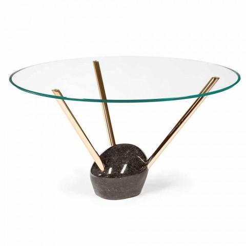 Base Per Tavolo Rotondo In Cristallo.Tavolo Rotondo Moderno Con Piano In Vetro E Base In Marmo Adele