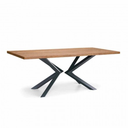 Tavolo Sala da Pranzo Moderno in Rovere Nodato e Metallo Made in Italy - Veruka