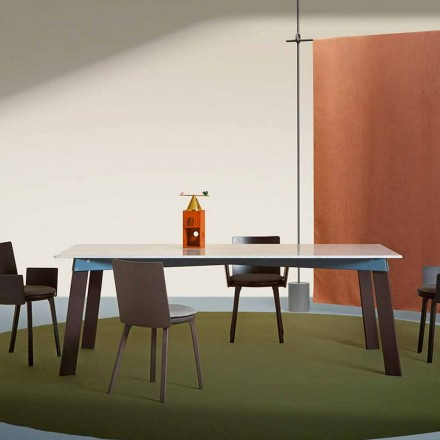 Tavolo Soggiorno Moderno in Acciaio con Piano in Marmo di Design - Aronte