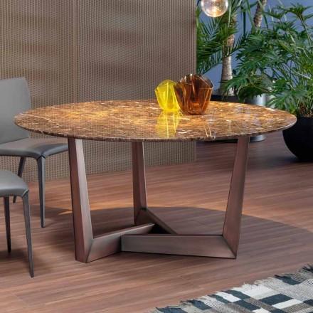 Tavolo tondo con Piano in Marmo e Base in Metallo Made in Italy – Bonaldo Art