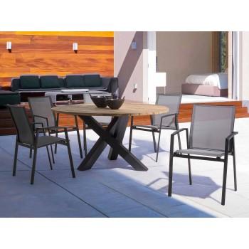 Tavolo Tondo da Esterno Moderno con Piano in Legno di Teak Homemotion - Ruben