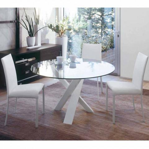 tavolo tondo di design piano in cristallo made in