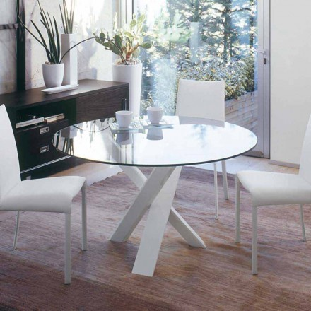 Tavolo tondo di design d.130 piano in cristallo made in Italy Cristal