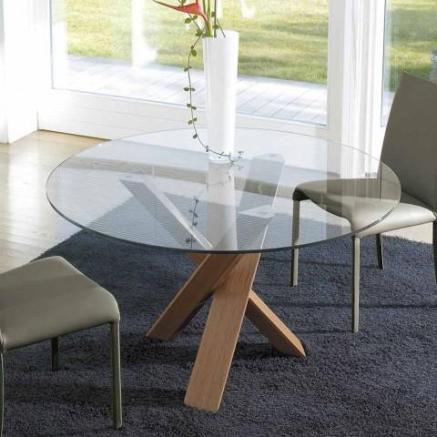 Tavolo tondo di design d.150 piano in cristallo made in Italy Cristal