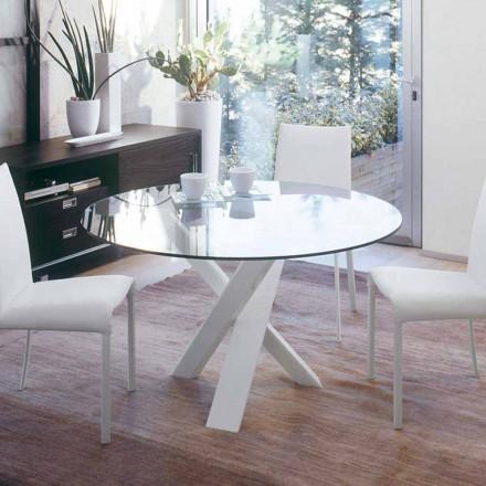 Tavolo tondo di design d.160 piano in cristallo made in Italy Cristal