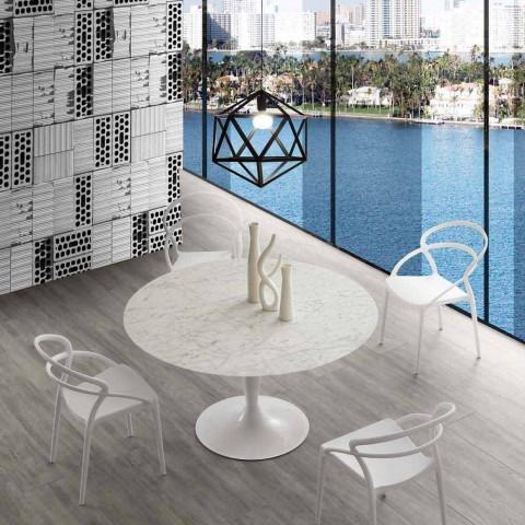 Tavolo Tondo Diametro 120.Tavolo Tondo In Marmo Carrara Diametro 120cm Rimini Design Moderno