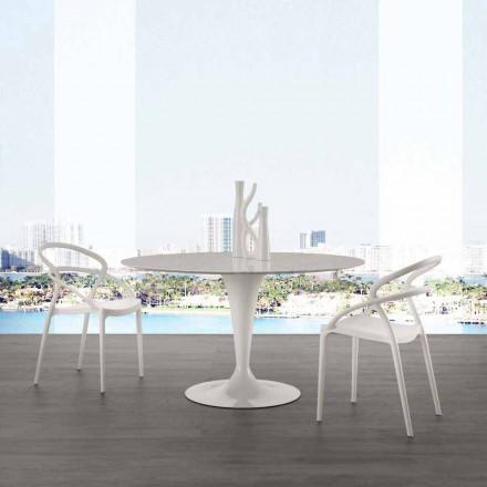 Tavolo tondo diametro 120 cm con piano in marmo carrara bianco Rimini