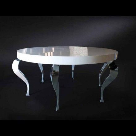 Tavolo tondo in stile classico rivisitato in MDF e acciaio Luigi