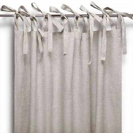 Tenda a Bastone con Lacci in Puro Lino Colore Naturale Made in Italy – Daiana