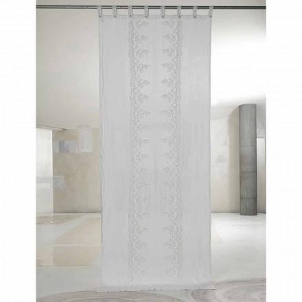 Tenda di Lino Bianca e Leggera con Pizzo Centrale Elegante di Design - Geogeo