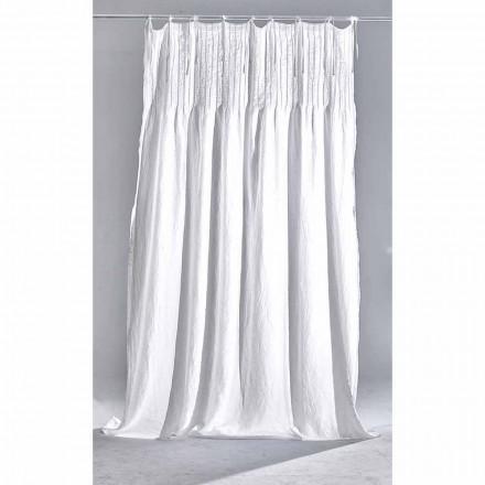 Tenda di Lino Bianco Leggero con Nervature Design di Qualità Italiana - Tafta