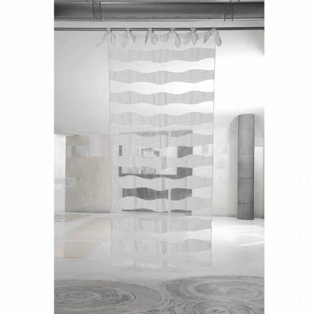 Tenda in Lino e Organza Bianca con Ricamo Design Elegante Italiano - Oceanomare