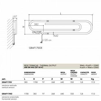 Termoarredo design graffetta elettrico con finitura cromata Scirocco H