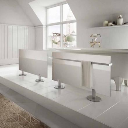 Termoarredo elettrico da pavimento design moderno in vetro bianco Star