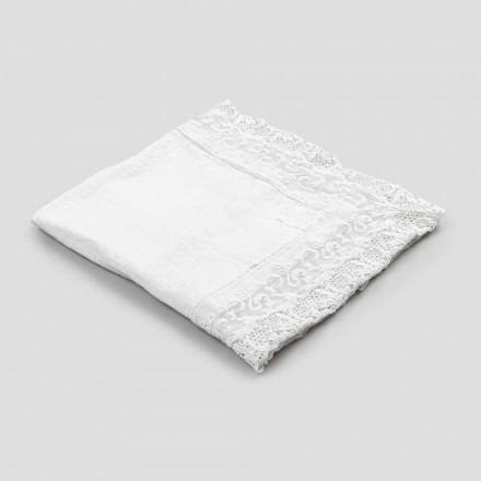 Tovaglia di Lino Quadrata con Pizzo Bianco Design Lusso Made in Italy - Olivia