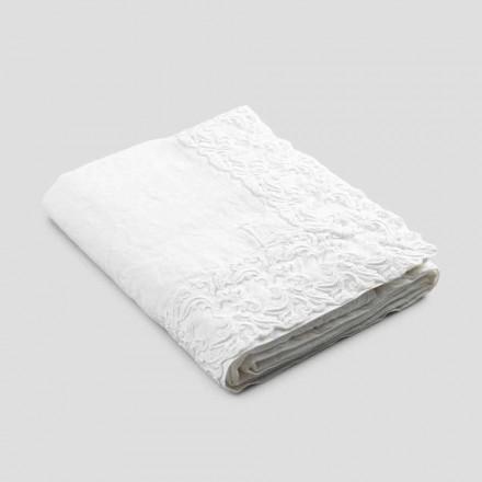 Tovaglia in Lino Bianco o Burro con Pizzo Farnese Design Rettangolare - Kippel