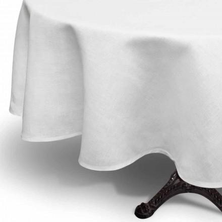 Tovaglia in Lino Bianco Panna Rotonda Prodotta a Mano in Italia – Blessy