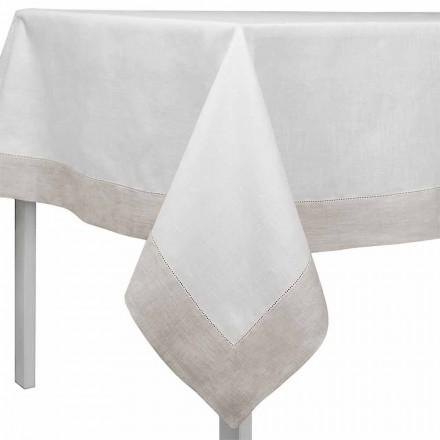 Tovaglia Lino Bianco e Naturale, Rettangolare o Quadrata Made in Italy – Chiana