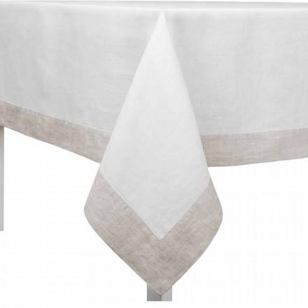 Tovaglia Lino Bianco e Naturale, Rettangolare o Quadrata Made in Italy – Poppy