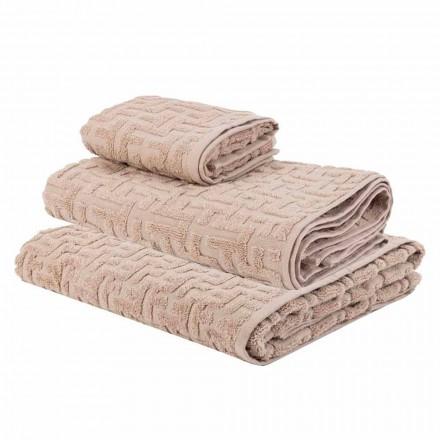 Tris di Asciugamani da Bagno in Spugna di Cotone Telo, Viso e Ospite - Ginestra