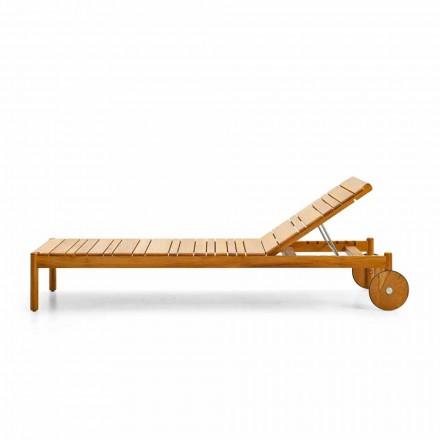 Varaschin Barcode lettino con ruote da esterno in legno di teak