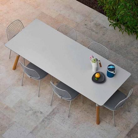 Varaschin Link tavolo da giardino allungabile con gambe in teak,H75 cm