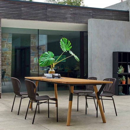 Varaschin Link tavolo da giardino con gambe in legno di teak, H 65 cm